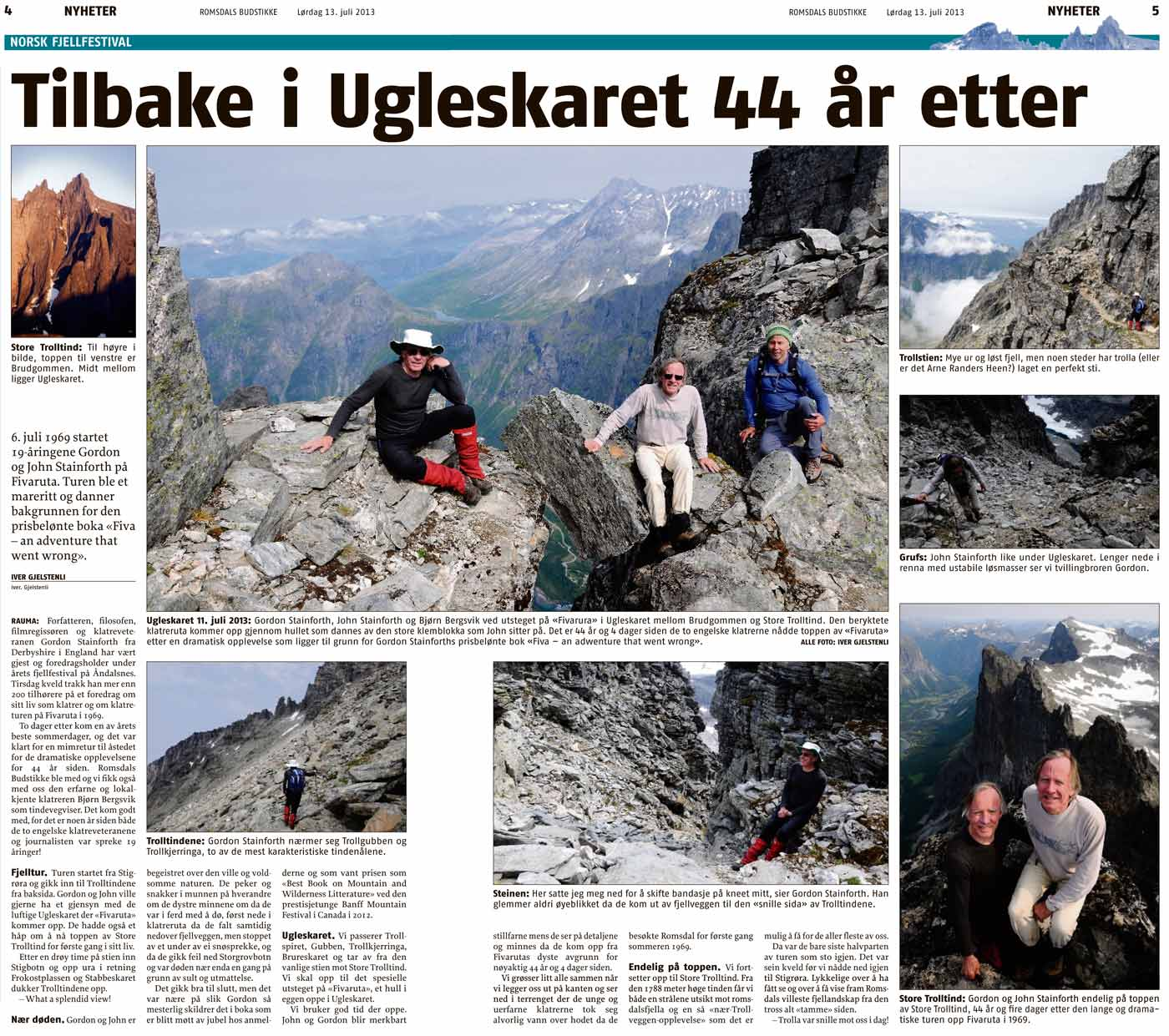 Article Iver Gjelstenli wrote about our climb in the local Romsdal newpaper. Click to enlarge