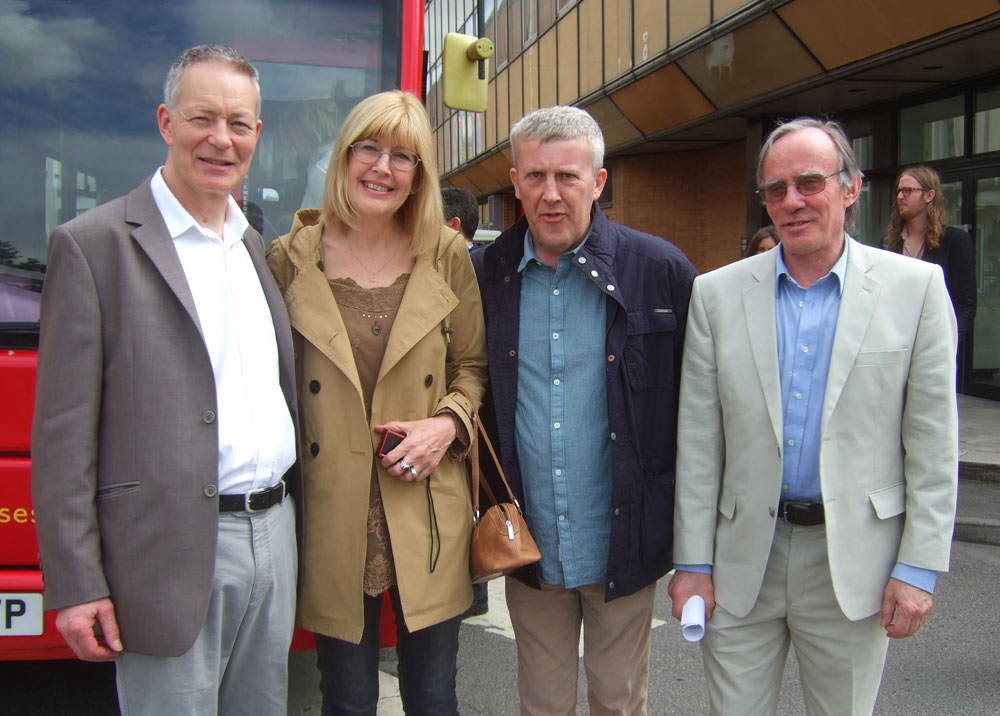 The Shining assistant editors at Elstree Studios 35 years later. L to R: Adam Unger, Gill Smith, Tim Smith & Gordon Stainforth. Photo: Freda Raphael