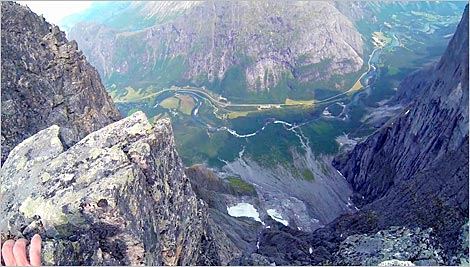 Movie footage looking straight down the Fiva Route from a shoulder c. 50 metres below the summit of Store Trolltind. GoPro by John Stainforth