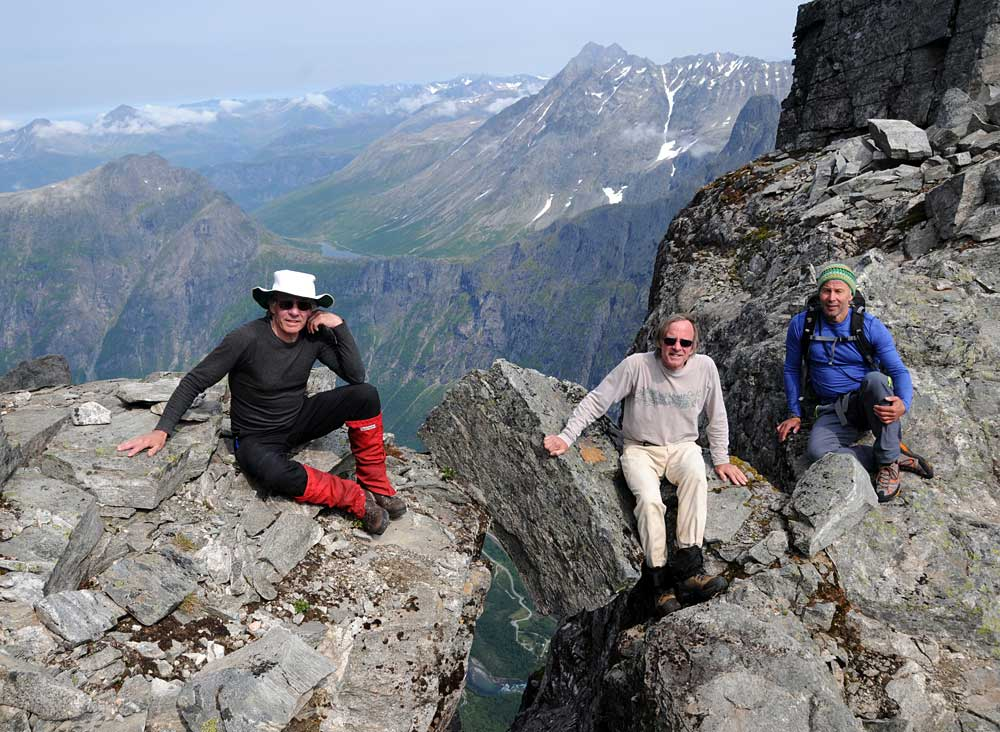 Gordon and John with Bjorn by the exit hole of the Fiva Route, 44 years and 4 days after their first epic arrival at this point in a badly injured state. Photo: Iver Gjelstenli