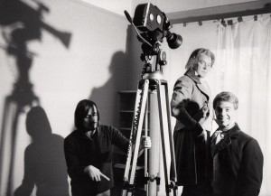 Gordon setting up a shot with Tony Britton and Peter Settelen