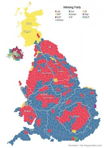 Map of General Election results, May 2015