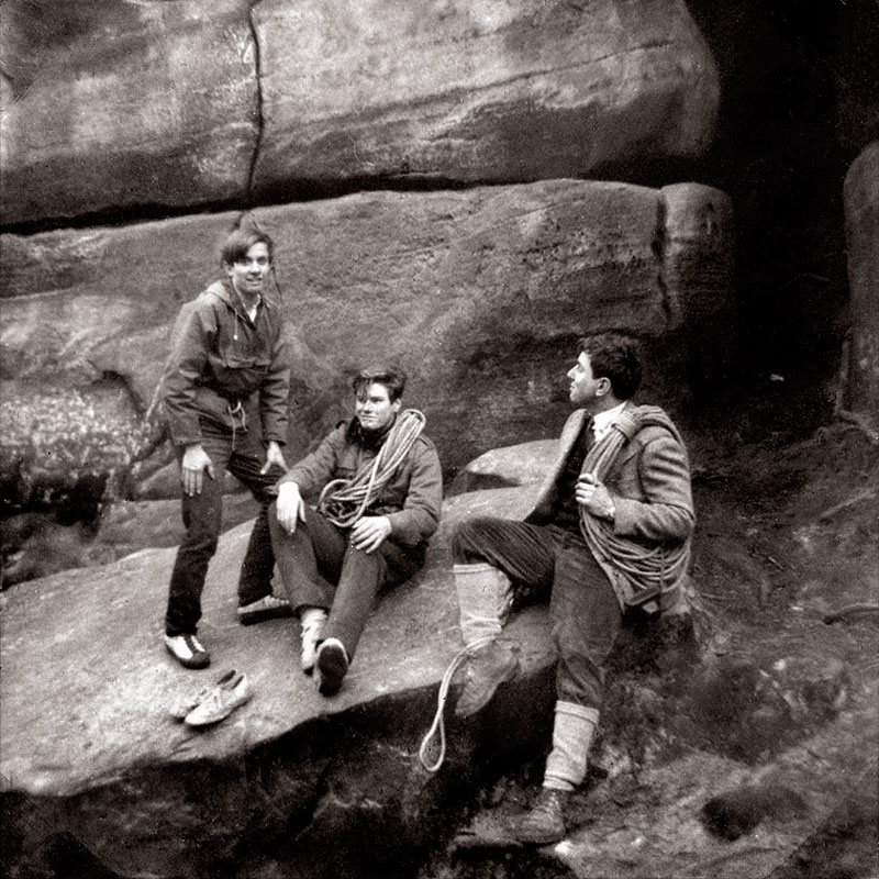 Gordon, Hugh Tassell, and Nick Prosser (master in charge of climbing), below Niblick, 1968