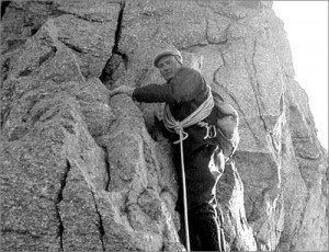 Heinrich Taugwalder at 'The Notch', Zinalrothorn, Aug 30 1967. Photo: Gordon Stainforth