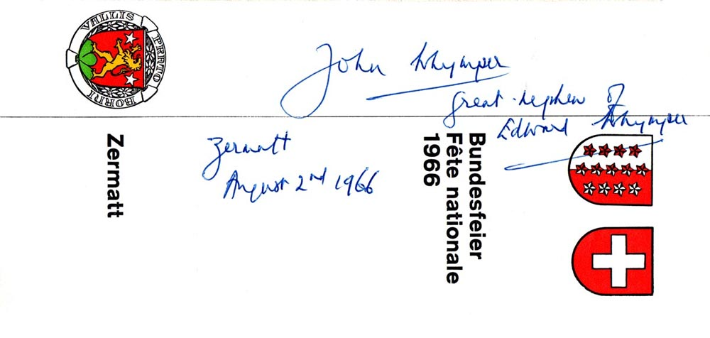 Signature of Edward Whymper's great nephew after making an ascent of the Matterhorn in August 1966