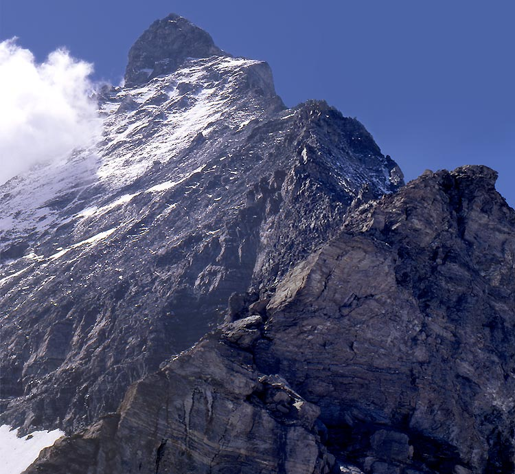 The Hornli Ridge of the Matterhorn, from the Hornli Hut, August 2nd 1966. Photo: Gordon Stainforth