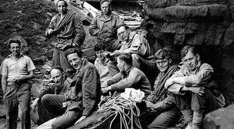 Birtwistle sitting 4th from left with the Rucksack Club at Kinder Downfall in 1950. Photograph: Rucksack Club Archive