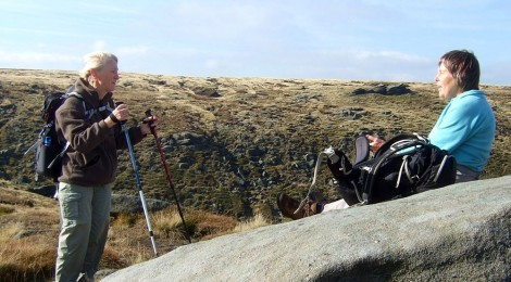 Freda and Clare above Fairbrook Naze