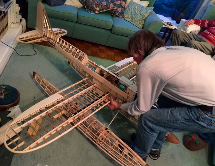 John Stainforth with his partly completed 1/5 scale model of the Supermarine S6B