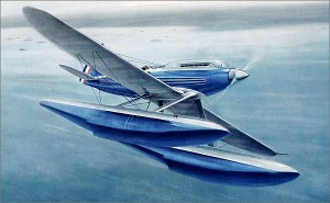 The Supermarine S6B seaplane, a futuristic design by George Mitchell, designer of the Spitfire. (Image from www.boat-angling.co.uk, uncredited)
